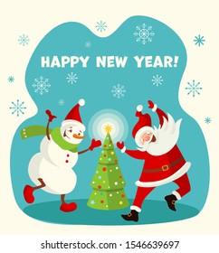 Dancing Santa Claus and Snowman and Christmas tree. Vector illustration