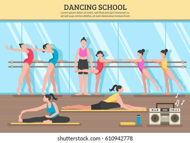 Dancing school with teacher and girl students near mirror and on mats music equipment flat vector illustration