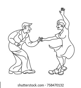 Dancing seniors. Happy old people have fun. Active pensioners.Couple silhouettes dancing swing, rock or lindy hop.Outline retro dancer silhouette. People retro style clothes dancing disco.line art