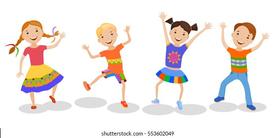 Dancing set of little cartoon fun kids in colorful clothes