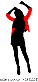 Dancing silhouette, vector