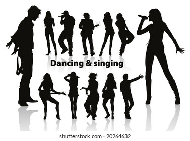 dancing and singing people's silhouette p.6