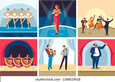 Dancing and singing show or concerts opera and ballet orchestra and cabaret vector ballerinas in tutu solo singer musicians and conductor dancers and jazz players classic vocalist stage and curtains