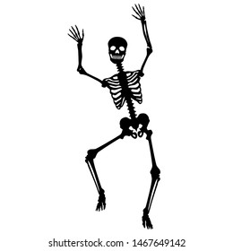 Dancing skeleton / vector, black and white, isolated