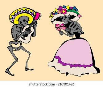 Dancing skeletons. Day of the dead vector illustration