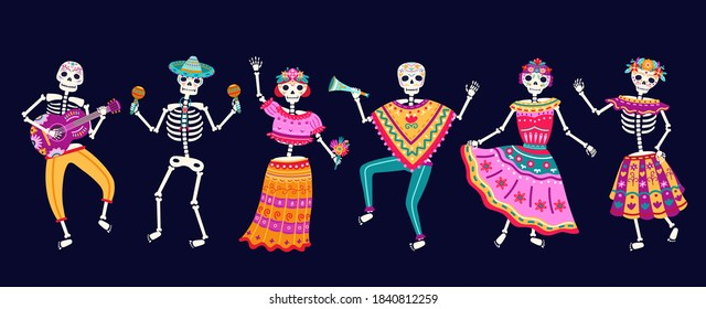 Dancing skeletons. Dead day party, sugar skull or halloween holiday. Traditional mexican music festival, fun bright dance vector characters