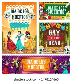 Dancing skeletons of Dia de los Muertos Mexican holiday vector design. Day of Dead altar with sugar skulls, Catrina Calavera and mariachi with sombrero and guitar, marigold flower and festive bunting
