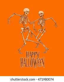 Dancing skeletons for Halloween party celebration poster. Vector illustration, graphics design