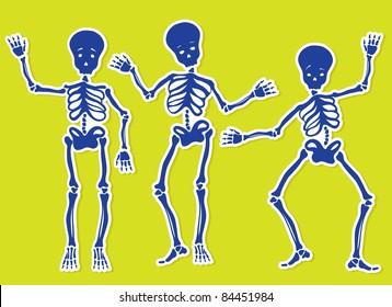 Dancing Skeletons. Vector Illustration.