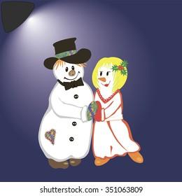 dancing snowmen vector