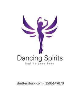 dancing spirits logo design, icon design template elements