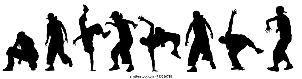 Dancing street dance silhouettes in urban style on white background, vector illustration