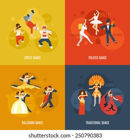 Dancing style design concept set with street theater ballroom traditional dance flat icons isolated vector illustration