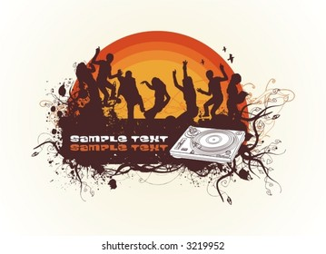 dancing in the sunset people silhouettes,floral & grunge banner for text, turntable