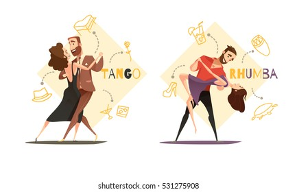 Dancing tango and rhumba couples 2 retro cartoon templates with web style accessories icons isolated vector illustration