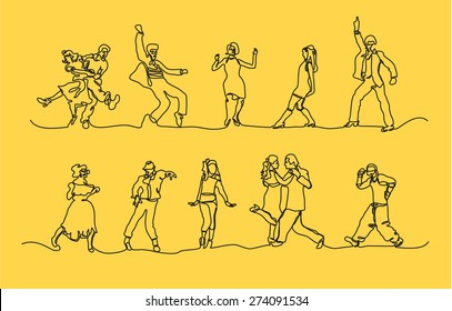 Dancing Through the Decades Continuous Line Vector