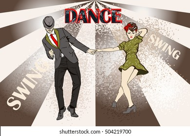 Dancing. Vector of a dancing couple in vintage apparel. Handsome man and pinup girl dancing swing.