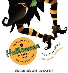 Dancing witch Halloween party invitation background with copy space EPS 10 vector