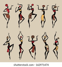 Dancing woman in ethnic style. Vector collection.
