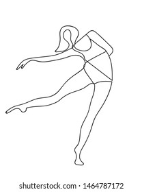 Dancing woman one line abstract poster. Minimalist poster design. Ballerina silhouette contour. Outline woman silhouette. Vector EPS 10.