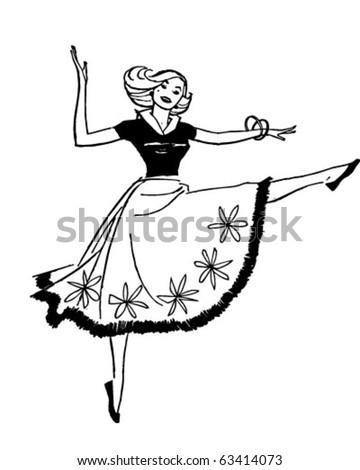 Dancing Woman Retro Clipart Illustration Stock Vector Royalty Free