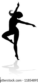 A dancing woman in silhouette graphic illustration