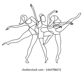 Dancing women one line abstract poster. Minimalist poster design. Ballerinas group silhouette contour. Vector EPS 10.
