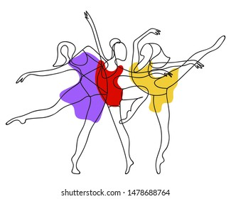 Dancing women one line abstract poster. Ballerinas group silhouette contour. Vector EPS 10.