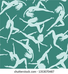 Dancing women. Seamless pattern. Vector illustration of silhouettes of dancers on turquoise background