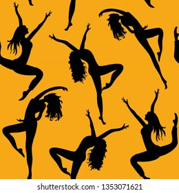 Dancing women. Seamless pattern. Vector illustration of silhouettes of dancers on orange background