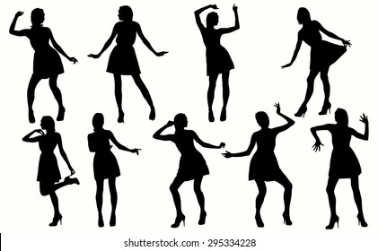Dancing Women Silhouettes. Vector silhouettes of girls in different positions.