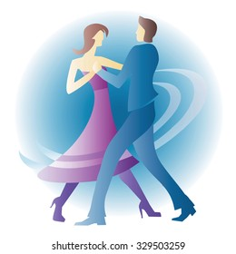 Dancing young couple. Young couple dancing ballroom dance. Colorful vector illustration.