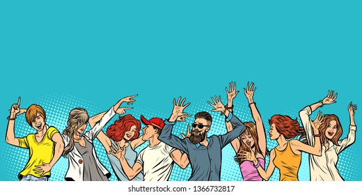 dancing young men boys and girls, copy space on top. Pop art retro vector illustration vintage kitsch
