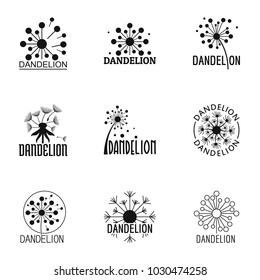 Dandelion bloom icons set. Simple set of 9 dandelion bloom vector icons for web isolated on white background