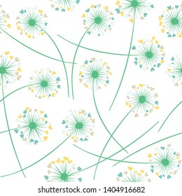 Dandelion blowing plant vector floral seamless pattern. Simple flowers with heart shaped fluff flying. Vector dandelion herbs meadow flowers floral background. Meadow blossom fabric print.