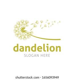 Dandelion Blowing Vector Logo Template