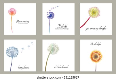 Dandelion floral cards with text. Minimal simple poster. Botanical illustration with gradient fill.  Vector flower  design.