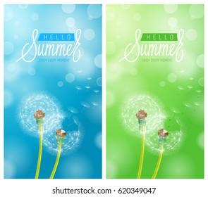 Dandelion Flower Background and Hello Summer Lettering. Vector Illustration EPS10
