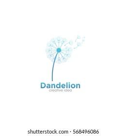 Dandelion Flower Creative Concept Logo Design Template
