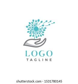 Dandelion Flower logo brand vector template
