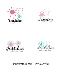 Dandelion Flower Logo Design Vector