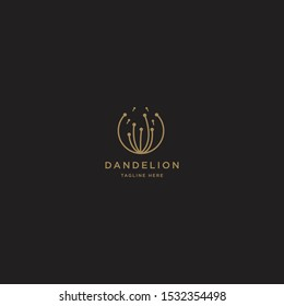 Dandelion Flower Logo Icon Design Template. Elegant, Luxury, Gold, Flower, Premium, Spa, Cosmetic, Boutique, Florist, Fashion, Modern Vector Illustration