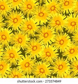 Dandelion flower vector seamless pattern