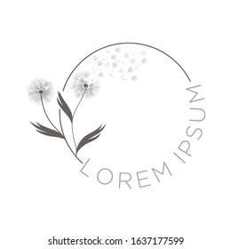 dandelion flowers vector emblem logo template