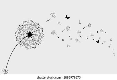 Dandelion with flying butterflies music note and seeds, vector illustration