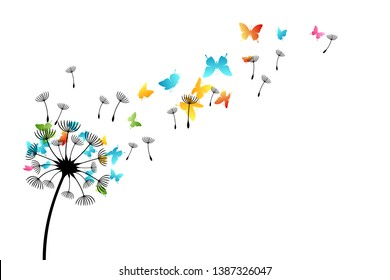 Dandelion with flying color butterflies and seeds. Vector isolated decoration element from scattered silhouettes. Conceptual illustration of freedom and serenity.