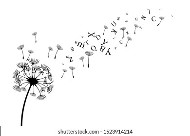 Dandelion with flying letters and seeds. Vector decoration from scattered elements. Monochrome isolated silhouette. Conceptual illustration.