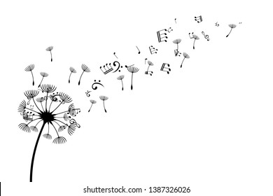 Dandelion with flying notes and seeds. Vector isolated decoration element from scattered silhouettes. Conceptual illustration of freedom and serenity.