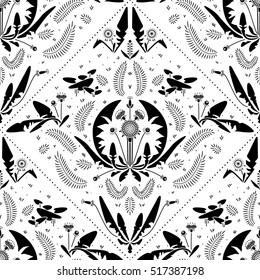 Dandelion grass flower geometric pattern black and white.