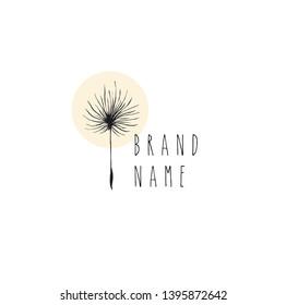Dandelion hand drawn logo vector